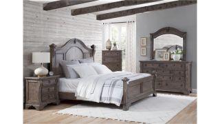 American Woodcrafters Heirloom 6 Piece Set (Headboard, Footboard, Rails, Dresser, Mirror and Nightstand)