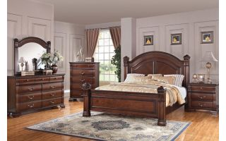 Austin Group Isabella 6 Piece Set (Headboard, Footboard, Rails, Dresser, Mirror, and Nightstand)