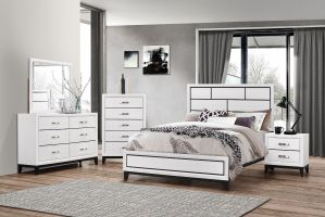 Crown Mark Akerson White 6 Piece Set (Headboard, Footboard, Rails, Dresser, Mirror, and Nightstand)