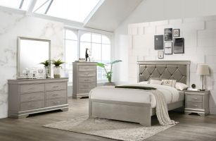 Crown Mark Amalia 6 Piece Set (Headboard, Footboard, Rails, Dresser, Mirror and Nightstand)