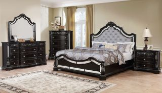 Crown Mark Bankston Panel 6 Piece Set (Headboard, Footboard, Rails, Dresser, Mirror, and Nightstand)
