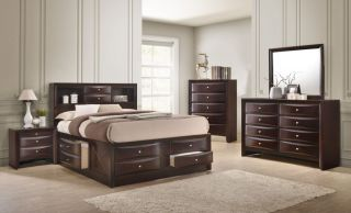 Crown Mark Emily Dark Cherry Queen 6 Piece Set (Headboard, Footboard, Rails, Dresser, Mirror, and Nightstand)