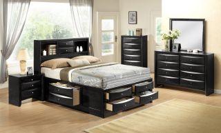 Crown Mark Emily Black 7 Piece Set (Headboard, Footboard, Rails, Storage, Dresser, Mirror and Nightstand)