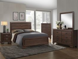 Crown Mark Farrow Chocolate 6 Piece Set (Headboard, Footboard, Rails, Dresser, Mirror, and Nightstand)
