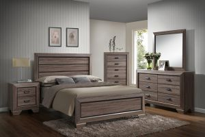 Crown Mark Farrow 6 Piece Set (Headboard, Footboard, Rails, Dresser, Mirror, and Nightstand)