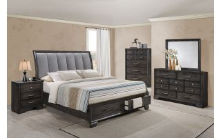 Crown Mark Jaymes 6 Piece Set (Headboard, Footboard, Rails, Dresser, Mirror, and Nightstand)