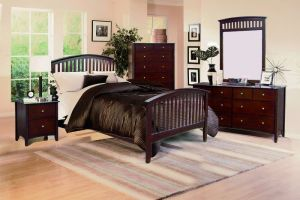 Crown Mark Lawson Twin 6 Piece Set (Headboard, Footboard, Rails, Dresser, Mirror, and Nightstand)