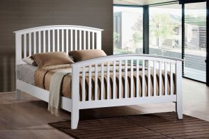 Crown Mark Lawson White Bed with Headboard, Footboard, and Rails