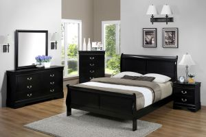 Crown Mark Louis Philip Black 6 Piece Set (Headboard, Footboard, Rails, Dresser, Mirror, and Nightstand)