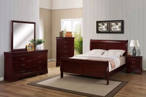 Crown Mark Louis Philip Cherry 6 Piece Set (Headboard, Footboard, Rails, Dresser, Mirror, and Nightstand)