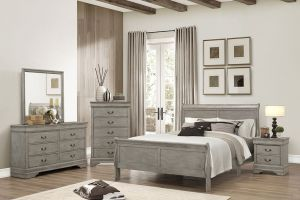 Crown Mark Louis Philip Grey 6 Piece Set (Headboard, Footboard, Rails, Dresser, Mirror, and Nightstand)