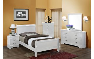 Crown Mark Louis Philip White 6 Piece Set (Headboard, Footboard, Rails, Dresser, Mirror, and Nightstand)