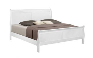 Crown Mark Louis Philip White Sleigh Bed with Headboard, Footboard, and Rails