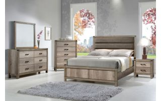 Crown Mark Matteo 6 Piece Set (Headboard, Footboard, Rails, Dresser, Mirror, and Nightstand)