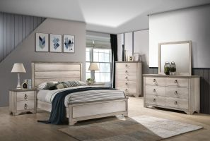 Crown Mark Patterson 6 Piece Set (Headboard, Footboard, Rails, Dresser, Mirror and Nightstand)