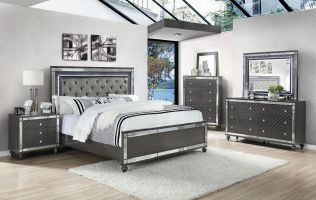 Crown Mark Refino 6 Piece Set (Headboard, Footboard, Rails, Dresser, Mirror and Nightstand)