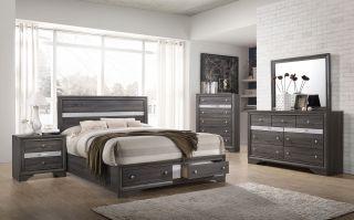 Crown Mark Regata Grey 6 Piece Set (Headboard, Footboard, Rails, Dresser, Mirror and Nightstand)