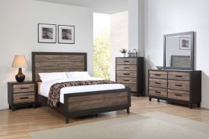 Crown Mark Tacoma 6 Piece Set (Headboard, Footboard, Rails, Dresser, Mirror and Nightstand)