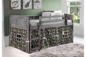 Donco Antique Grey Louver Twin Low Loft Bed with 3 Drawer Chest, 2 Drawer Chest/Shelves, and Bookcase
