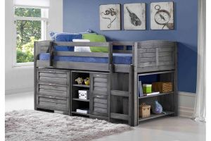 Donco Antique Grey Louver Low Loft Bed with 3 Drawer Chest, 2 Drawer Chest/Shelves, and Bookcase
