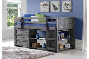 Donco Antique Grey Louver Low Loft Bed with 3 Drawer Chest, Bookcase, and Small Bookcase