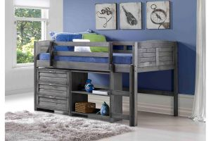 Donco Antique Grey Louver Low Loft Bed with 3 Drawer Chest, and Small Bookcase