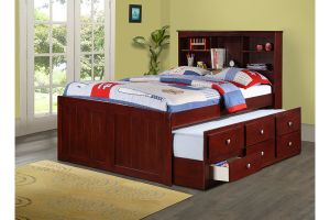 Donco Cappuccino Captains Bed with Trundle and Drawers