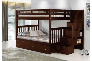 Donco Cappuccino Full over Full Mission Bunkbed