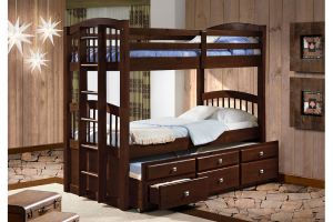 Donco Cappuccino Twin over Twin Angelica Captain Bunkbed with Trundle and Drawers
