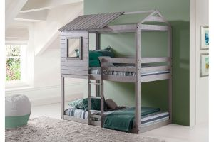 Donco Light Grey Twin over Twin Deer Blind Bunkbed
