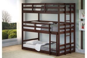 Donco Cappuccino Twin over Twin over Twin Bunkbed