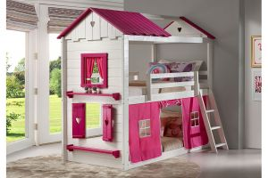 Donco White/Pink Twin over Twin Sweetheart Bunkbed