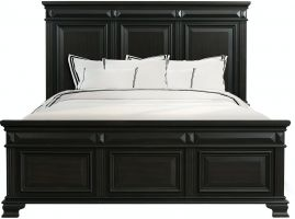 Elements Calloway Black Bed with Headboard, Footboard and Rails