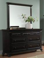 Elements Calloway Black Dresser and Mirror