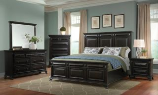 Elements Calloway Black 6 Piece Set (Headboard, Footboard, Rails, Dresser, Mirror, and Nightstand)