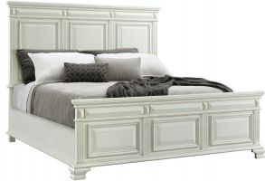 Elements Calloway White Bed with Headboard, Footboard and Rails