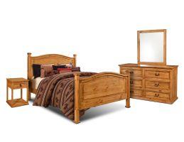 Horizon Homes El Paso Natural 6 Piece Set (Headboard, Footboard, Rails, Dresser, Mirror and Nightstand)