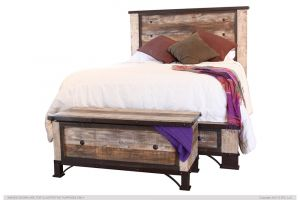 IFD Antique Bed with Headboard, Footboard, and Rails