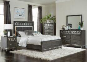 Kith Hollywood Grey 6 Piece Set (Headboard, Footboard, Rails, Dresser, Mirror and Nightstand)