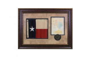LMT Shadowbox W/Texas Flag, Letter & Seal
