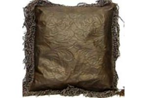 LMT Leather Pillow with fringe in chocolate