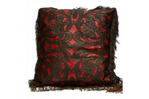 LMT Leather Pillow with fringe in chocolate and red