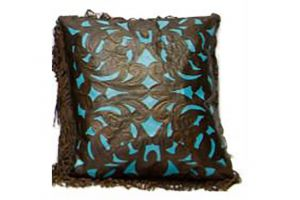 LMT Leather Pillow with fringe in chocolate and turquoise