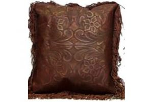 LMT Leather Pillow with fringe in wine