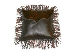 LMT Leather Pillow with twisted fringe