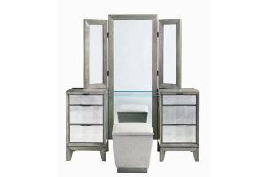Najarian Venezia Grey Vanity Mirror Stool Set