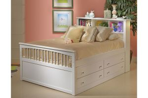 New Classic Bayfront Full Captains Bed and Drawer with Headboard, Footboard, and Rails