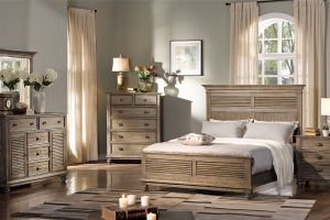 New Classic Lakeport Pewter 6 Piece Set (Headboard, Footboard, Rails, Dresser, Mirror, and Nightstand)
