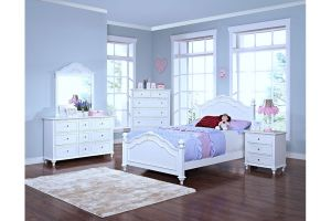 New Classic Megan 6 Piece Set (Headboard, Footboard, Rails, Dresser, Mirror, and Nightstand)