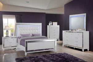 New Classic Valentino White 6 Piece Set (Headboard, Footboard, Rails, Dresser, Mirror, and Nightstand)